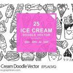 دانلود طرح های وکتور خطی بستنی Ice Cream Doodle Vector