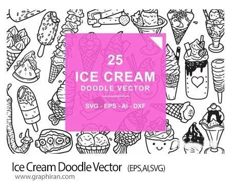 دانلود طرح های وکتور خطی بستنی