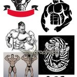 دانلود تصاویر وکتور خطی و لوگو بدنسازی Bodybuilder Vectors