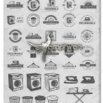 دانلود تصاویر وکتور خطی خشکشویی و لباسشویی Set of Laundry Emblems