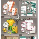 دانلود 9 طرح آماده ست اداری کامل وکتور لایه باز Stationery Template Vector