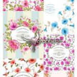 دانلود تصاویر وکتور گل های طبیعی و شاخه و برگ صورتی، قرمز و آبی