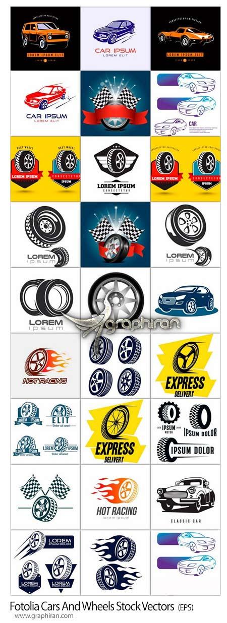 دانلود تصاویر وکتور خطی ماشین و چرخ