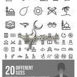 دانلود 50 طرح وکتور آیکون های خطی اسلامی مذهبی Islamic Line Icons