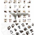 دانلود 60 آیکون فلت کافی شاپ و قهوه Coffee Shop Flat Icons