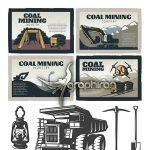 دانلود تصاویر وکتور معدن ، معدنچی و لوازم کارگر معدن Mining Vectors