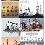 دانلود تصاویر وکتور نفت پالایشگاه، بشکه، نفتکش، چراغ، دکل و قطره EPS