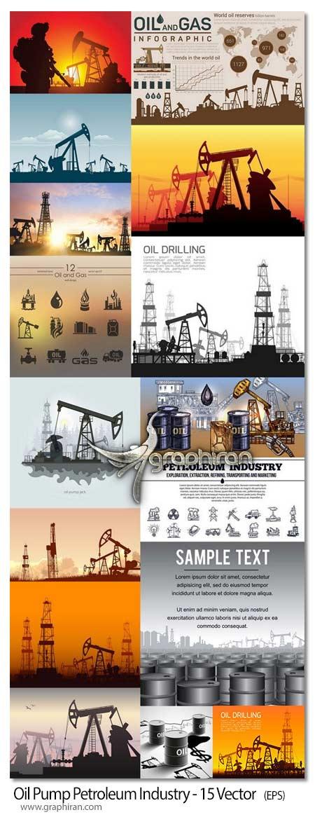دانلود تصاویر وکتور نفت پالایشگاه، بشکه، نفتکش، چراغ، دکل و قطره
