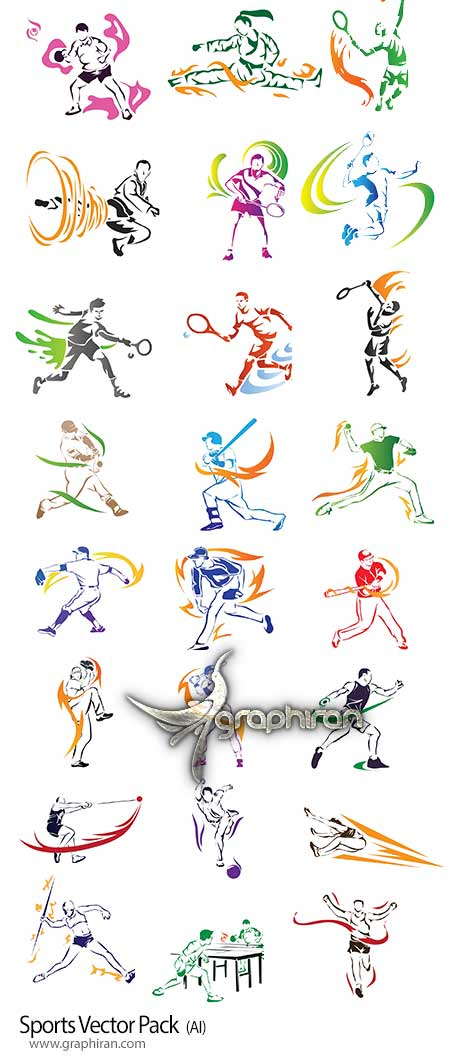 تصاویر وکتور انواع ورزش ها لایه باز