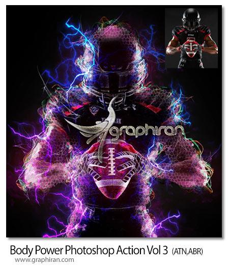 اکشن فتوشاپ افکت های الکتریکی قدرت بدن