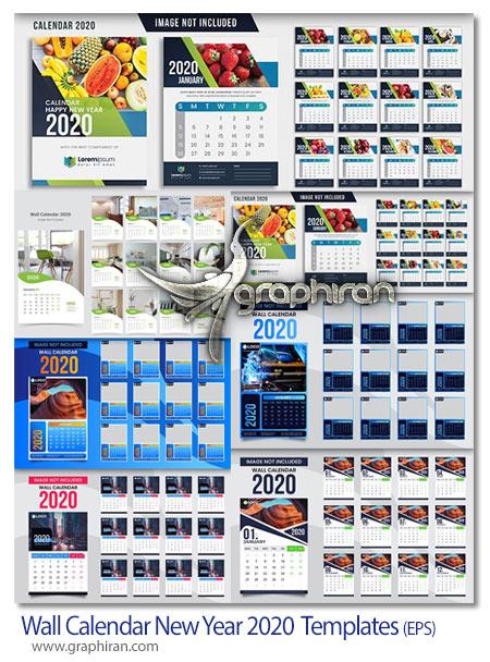 دانلود مجموعه طرح های لایه باز تقویم دیواری 2020 میلادی