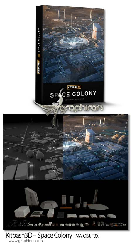 دانلود پک مدل های سه بعدی پایگاه فضایی Kitbash3D – Space Colony