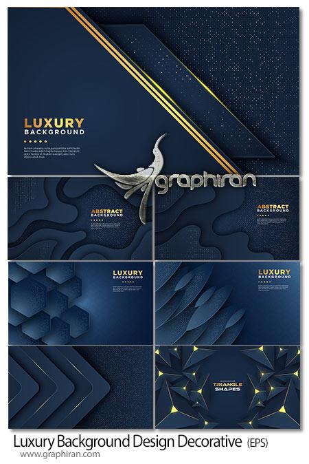 دانلود تصاویر وکتور بک گراند هندسی مشکی آبی طلایی لوکس EPS لایه باز