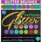 دانلود پک براش و پترن اکلیلی فتوشاپ Seamless Glitter Photoshop Brushes & Patterns