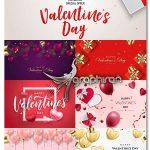 دانلود تصاویر وکتور المان های عاشقانه ولنتاین، قلب، جعبه کادو و روبان