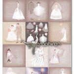 دانلود مجموعه تصاویر وکتور لباس عروس EPS لایه باز Bride Vector Set