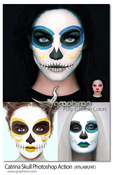 اکشن فتوشاپ افکت نقاشی اسکلت روی چهره Catrina Skull Photoshop Action