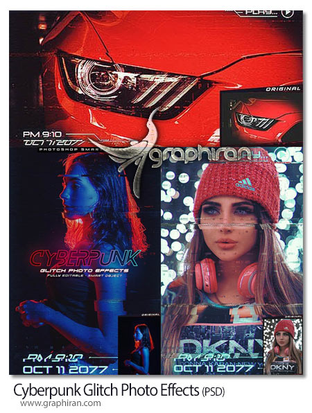 طرح لایه باز افکت عکس نویز سایبری Cyberpunk Glitch Photo Effects