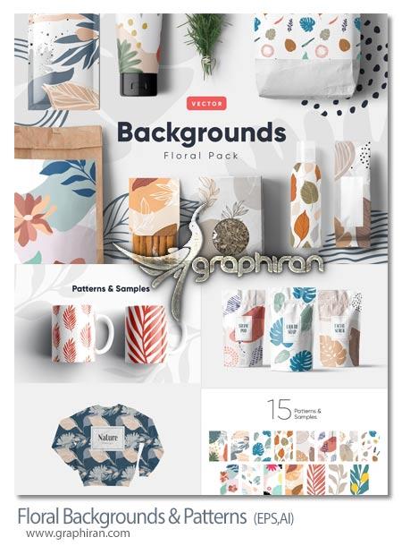 دانلود طرح های بک گراند و پترن گل دار وکتور Floral Backgrounds & Patterns