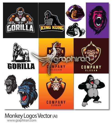 دانلود مجموعه تصاویر لوگو میمون وکتور لایه باز Monkey Logos Vector