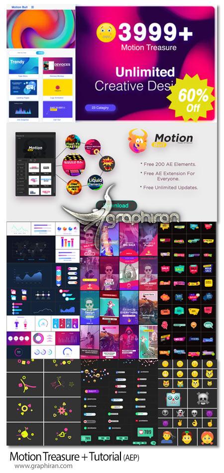 دانلود 3900+ موشن گرافی افترافکت ترانزیشن، ایموجی، اینفوگرافیک، تایتل و غیره Motion Treasure