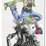 دانلود اکشن فتوشاپ طراحی خط خطی با مداد Rough Sketch Photoshop Action