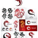 دانلود مجموعه لوگو اژدها وکتور لایه باز Dragon Logo Vector Set