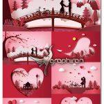 دانلود تصاویر وکتور عاشقانه و رمانتیک EPS لایه باز Romantic Vectors