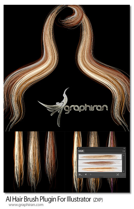 AI Hair Brushدانلود پلاگین ایلوستریتور ساخت مو سر
