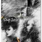 اکشن فتوشاپ افکت طراحی با دست Draft Sketch CS4+ Photoshop Action