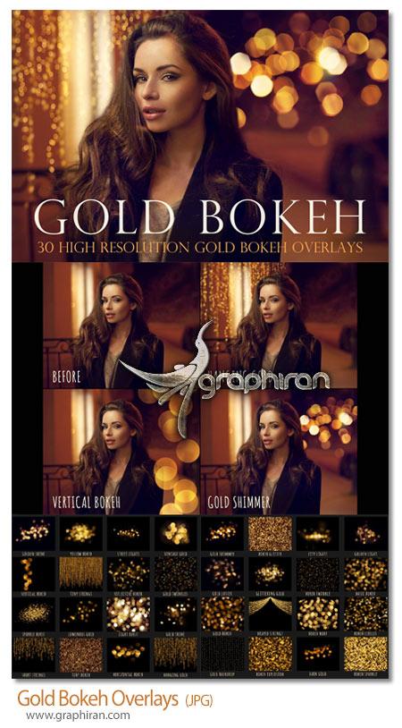 دانلود تصاویر پوششی افکت های بوکه طلایی Gold Bokeh Overlays