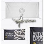 دانلود موک آپ بنر و پلاکارد پارچه ای Matte Vinyl Banner Mockup