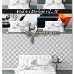 دانلود موک آپ کاغذ دیواری اتاق خواب خانه Wall Mockup - Sticker Mockup Vol 392