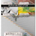 دانلود رایگان موکاپ کاغذ دیواری خانه با راه پله Wall Sticker Mockup Vol 396