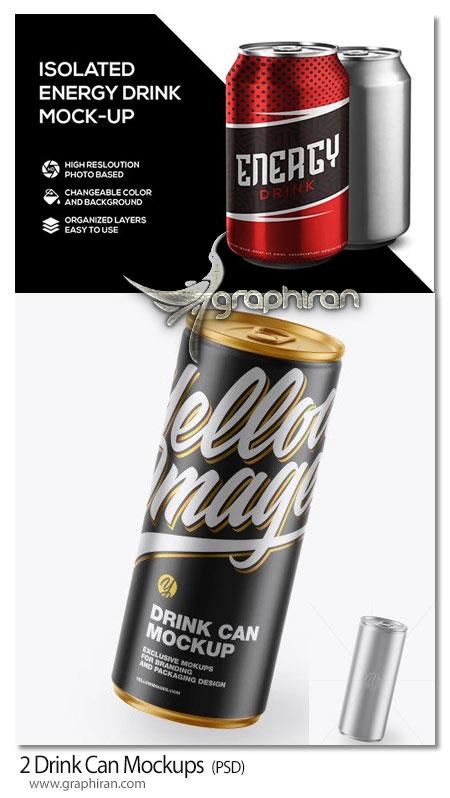 دانلود 2 موک آپ قوطی فلزی نوشابه و نوشیدنی انرژی زا Drink Can Mockups