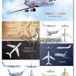دانلود تصاویر وکتور هواپیمای مسافربری واقعی Realistic Aircraft Vector Set