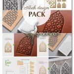 دانلود طرح های هندسی پنجره های هنر اسلامی وکتور Arch Window Islam Art