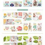 دانلود تصاویر وکتور بنر فروشگاه سیسمونی و لباس کودک Baby Store Sale Banners Set