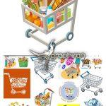 دانلود تصاویر وکتور سبد خرید و مواد غذایی Basket With Foods Vector