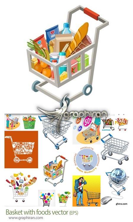 دانلود تصاویر وکتور سبد خرید و مواد غذایی