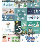 دانلود مجموعه وکتور علائم و پیشگیری از ویروس کرونا Covid-19 Corona Virus Vector Illustration
