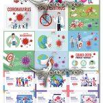 دانلو تصاویر وکتور المان های ویروس کرونا Covid-19 Corona Virus Vector Illustration