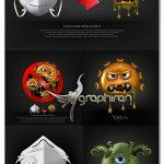 دانلود طرح های وکتور ویروس کرونا کارتونی و ماسک Covid-19 Virus Vector
