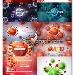 دانلود تصاویر وکتور ویروس کرونا با پس زمینه Coronavirus Illustration Vector