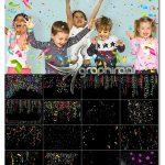 دانلود 75 تصویر پوششی کاغذ رنگی و روبان جشن Festive Confetti Photo Overlays