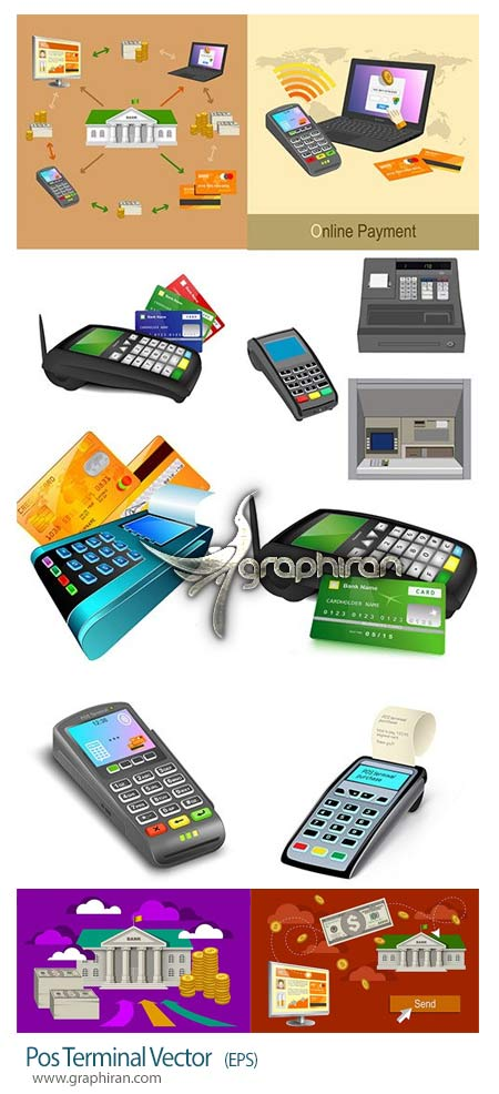 دانلود تصاویر وکتور دستگاه کارت خوان و عابربانک و بانکداری