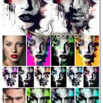طرح لایه باز نقاشی گرافیکی سبک اسپلتر Splatter Canvas Photo Template