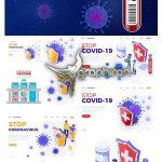 دانلود طرح های وکتور پیشگیری از ویروس کرونا Stop Coronavirus Illustration Set