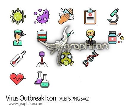 دانلود آیکون های پزشکی بهداشتی موضوع شیوع ویروس