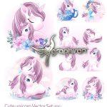 دانلود تصاویر وکتور یونیکورن و اسب تک شاخ کارتونی Cute Unicorn Vectors